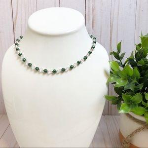 Jewelry - Swarovski Crystal & Green Pearl Beaded Necklace